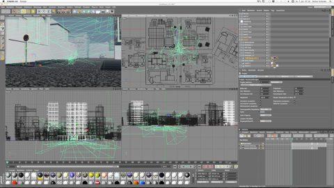 3D! Mit dem 3D-Programm Cinema 4D entsteht die Stadt nach und nach - mit vielen künstlichen Kameras und Gebäuden.