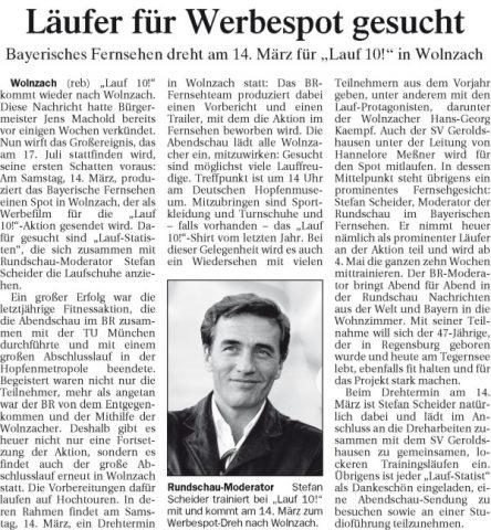 Artikel in der Wolnzacher Zeitung vom Freitag, 6. März 2009