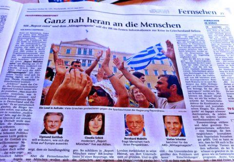 Berichterstattung über die Berichterstattung: Der Münchner Merkur bringt gleich eine ganze Seite über die ARD-Präsenz vor Ort.