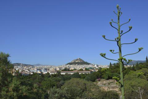 Wolkenlos. Blick auf Athen. Und immer im Wettstreit mit der Akropolis: Der Lycabettus-Hügel, 277 Meter hoch, mit der St. Georgs-Kirche auf dem Gipfel.