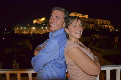 Zweisamkeit. Reporterin Ellen und Stefan demonstrieren nochmal das perfekte Betriebsklima vor perfekter Kulisse...;-)