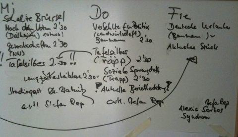 Nach Plan. Zum Wochenanfang reift unser Themenplan an der Studio-Wand ganz langsam heran. Hier eine Schalte, da ein Beitrag, dort ein Interviewgast. Und alles wie immer fließend...;-)