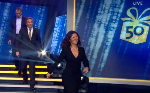 Große Showtreppe: Jetzt bloß nicht stolpern, Scheider!