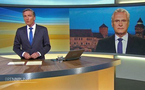 Brennpunkt am 25.7.2016 zur Serie von Gewaltakten in Bayern - hier der Terroranschlag von Ansbach. Gesprächsgast: Innenminister Joachim Herrmann aus Nürnberg zugeschaltet.