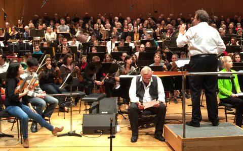 Noch drei Stunden bis zum Konzert: Letzte Proben im Gasteig - mit Mark Mast und Konstantin Wecker.