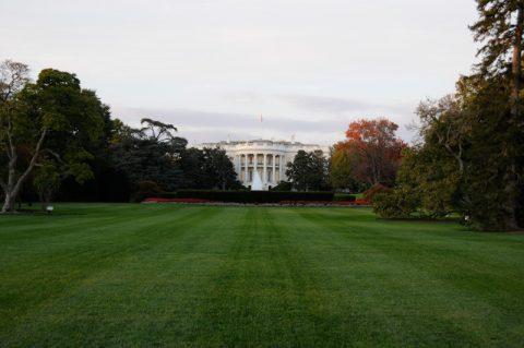 Ein friedlicher Abend rund um das Weiße Haus: Das Mittagsmagazin-Team klebt mit der Nase am Metallzaun.
