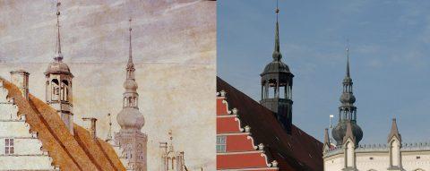 Der Marktplatz von Greifswald - vor 200 Jahren aus dem Pinsel von Caspar - und heute.