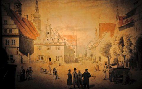 Caspars Bild vom Greifswalder Marktplatz: Die Menschen im Vordergrund - allesamt Familienmitglieder und Freunde!