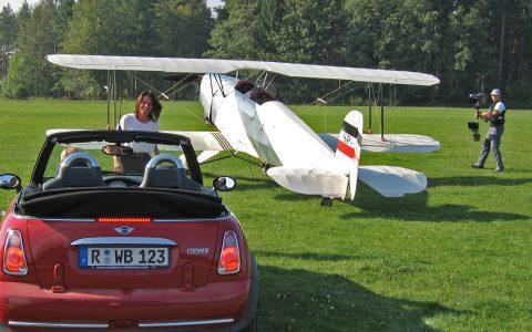 Alles kommt zusammen: Auto, Flieger und Stephans Steadicam!