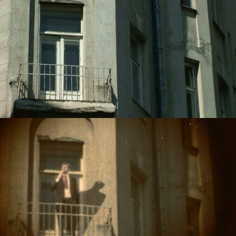 Auf dem Balkon von Kandinskys Mietshaus in Moskau stellen wir uns den Maler vor...