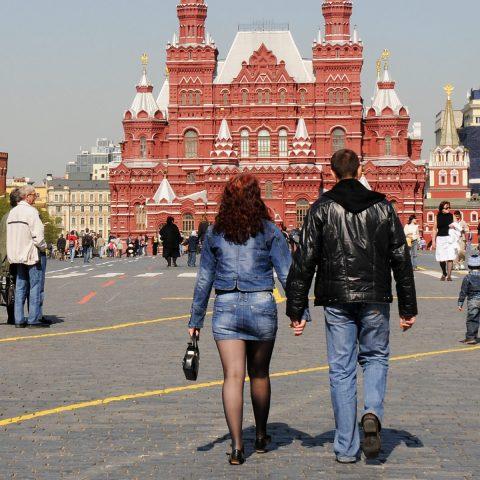 Viel Betrieb heute vor dem Moskauer Rathaus