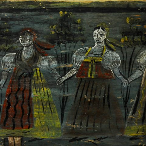 Russische Volkskunst: Mit leuchtenden Farben auf dunklem Untergrund.