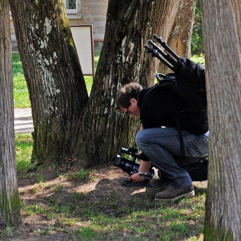Scheider mit Handkamera - beim Einsatz des Stativs kommt sofort eine Wache angerannt...