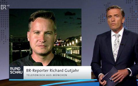 Erste Telefonschaltung zu Richard Gutjahr, der sich in der OEZ-Gegend aufhält (bis ihn die Polizei verscheucht).