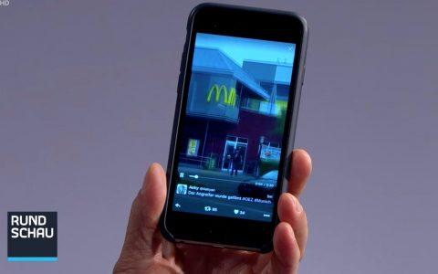 Besser als gar nichts: Ein Handyvideo in die Kamera gehalten.
