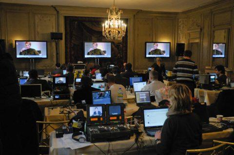 Der Presseraum - aktuell befunkt mit einer Rede der ukrainischen Regierungschefin Julija Tymoschenko.