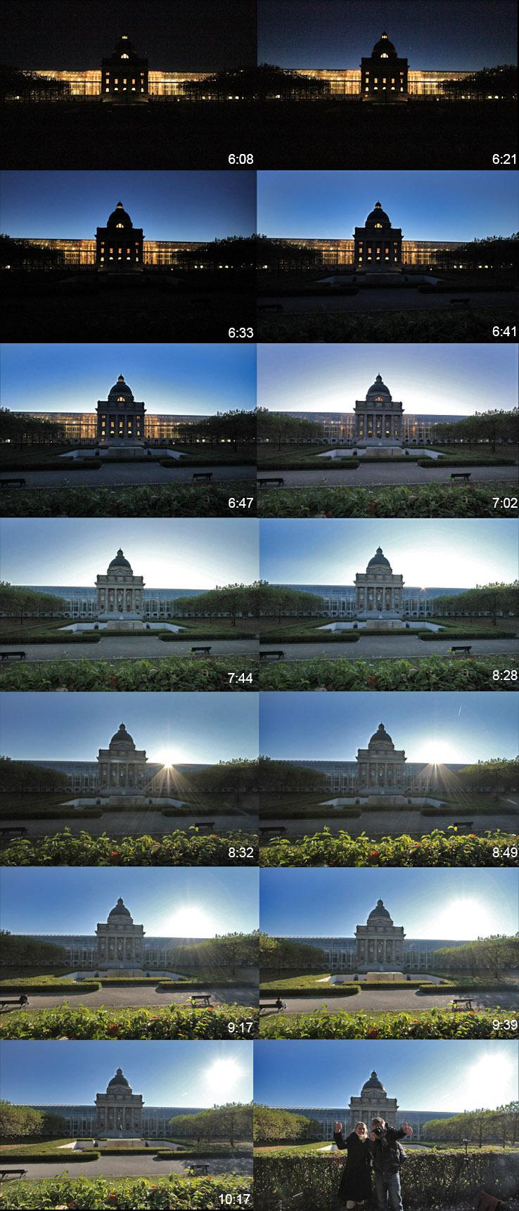 Vier Stunden Einzelbildaufnahme - für einen schnellen Sonnenaufgang hinter der Staatskanzlei.