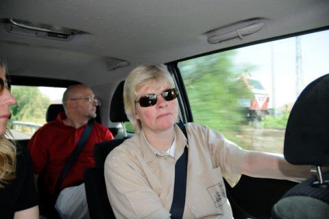 Fahrgemeinschaft: Das Mittagsmagazin-Team auf dem Weg zur Presse-Akkreditierung.