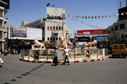 Ramallah: Der Manarah Platz mit den steinernen Löwen.