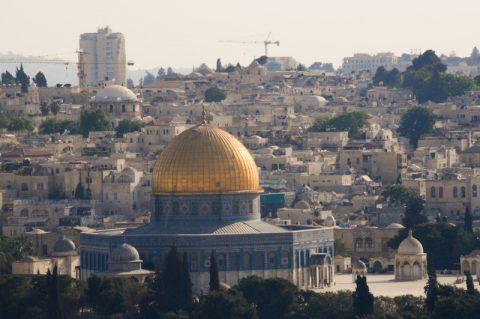 Wahrzeichen: Die goldene Kuppel des Felsendomes - einem der wichtigsten islamischen Heiligtümer - gleichzeitig der älteste islamische Sakralbau.