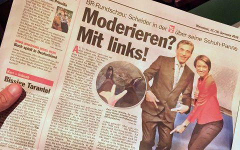 Riesen-Artikel in der tz am nächsten Tag: Fast eine ganze Seite zur Schuhpanne! Stefan staunt...;-)
